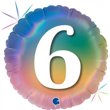 Superbe ballon rond avec inscription chiffre 6 couleur rainbow dégradé pastelBallon en aluminium pouvant être gonflé avec ou sans...