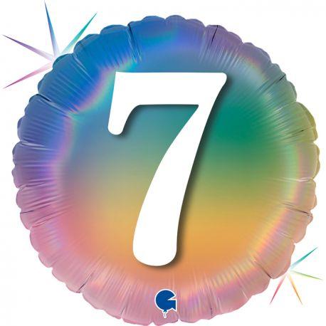 Superbe ballon rond avec inscription chiffre 7 couleur rainbow dégradé pastelBallon en aluminium pouvant être gonflé avec ou sans...
