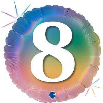 Ballon helium rond chiffre 8 rainbow pastel