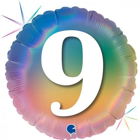 Superbe ballon rond avec inscription chiffre 9 couleur rainbow dégradé pastelBallon en aluminium pouvant être gonflé avec ou sans...