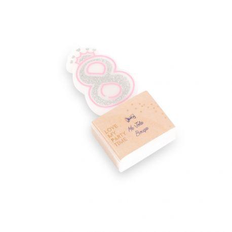 Superbe bougie chiffre N°8 couronne rose et paillettes argent pour une belle décoration de gâteau sur le thème Princesses, danseuses,...