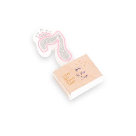 Superbe bougie chiffre N°7 couronne rose et paillettes argent pour une belle décoration de gâteau sur le thème Princesses, danseuses,...