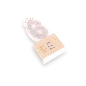 Bougie Chiffre 6 Princesse rose pailleté argent
