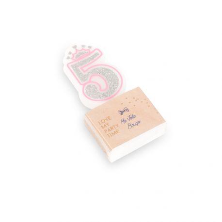 Superbe bougie chiffre N°5 couronne rose et paillettes argent pour une belle décoration de gâteau sur le thème Princesses, danseuses,...