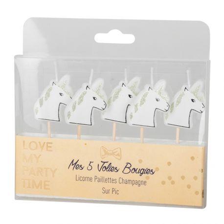 Kit 5 bougies pics Licornes avec paillettes or pour une belle décoration de gâteau d'anniversaire féérique et étincelante sur le...