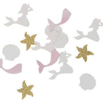 100 confettis sirène rose pailletés irisés