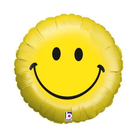Ballon rond helium en aluminium Smiley smile pour une belle décoration d'anniversaireA gonfler avec ou sans héliumDimensions :...