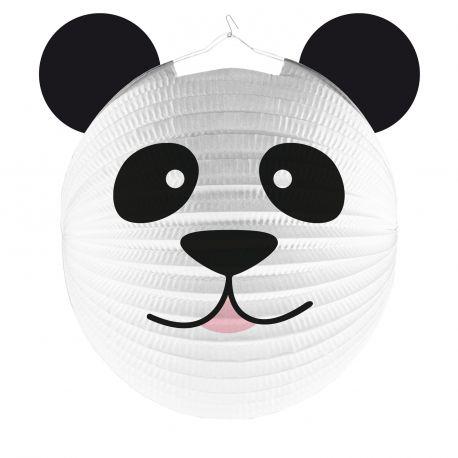 Lanterne en papier en forme de tête de Panda pour la déco anniversaire de votre enfant dur le thème de la JungleDimensions : Ø25cm