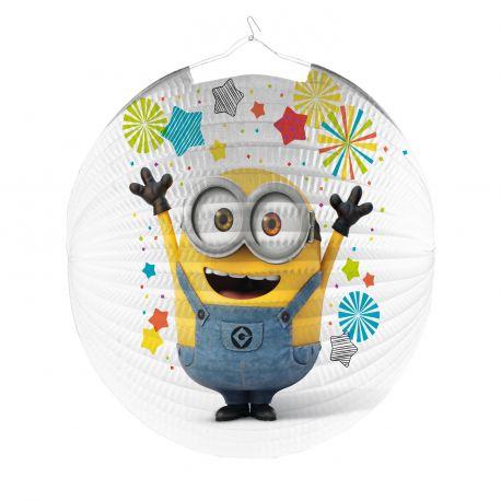 Lanterne en papier rondeLes Minions pour la deco anniversaire de votre enfant.Dimensions longueur 25cm