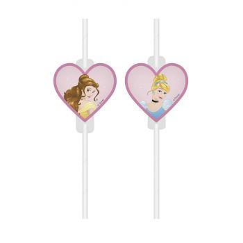 4 Pailles papier médaillon Princesse Disney