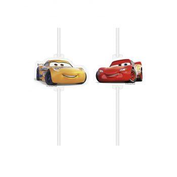 4 Pailles papier médaillon Cars 3