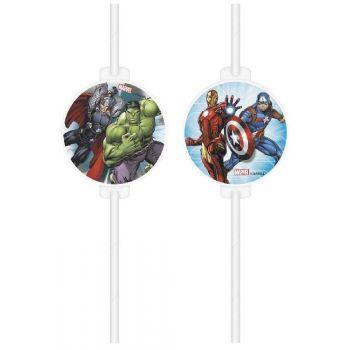4 Pailles papier médaillon Avengers