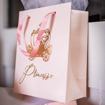 4 Sacs cadeaux Princesse rose