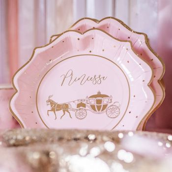 8 Assiettes Princesse rose