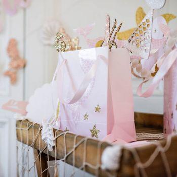 4 Sacs cadeaux Sirène rose irisé et pailleté