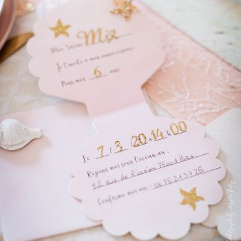 8 Invitations coquillage rose pailletés