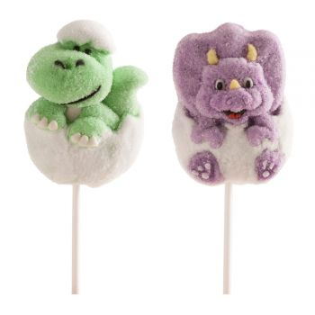 2 Sucettes Marshmallow Dinosaure