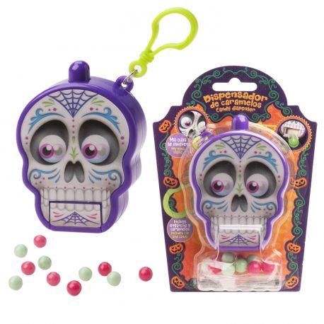 On adore ce distributeur de bonbon en forme de tête de mort Santa Muerte, appuyez sur la tête et il délivrera un bonbon par la bouche !