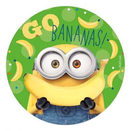 Disque azyme Minions la banane pour la déco de vos gâteaux d'anniversaire. Simple et rapide à poser, le disque azyme conserve un goût...