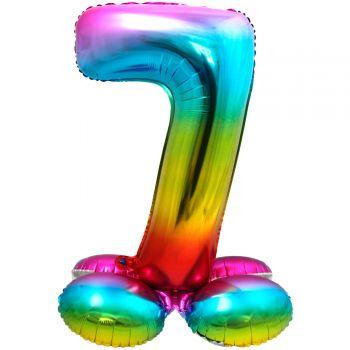 Ballon géant chiffre à poser Arc en ciel N°7
