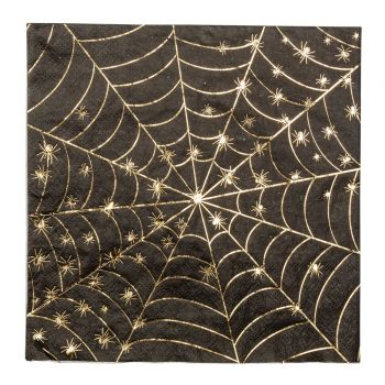 16 Serviettes toile araignée or