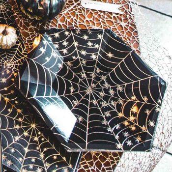 8 Assiettes toile araignée or