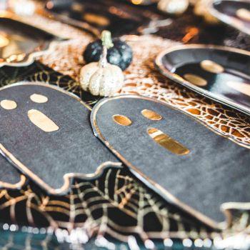 16 Serviettes fantôme noir et or