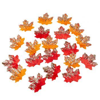 20 Feuilles pailletés d'automne 6cm