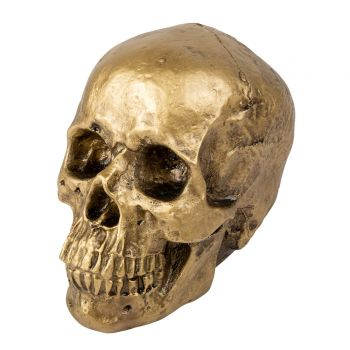 Crâne déco or mat 18cm