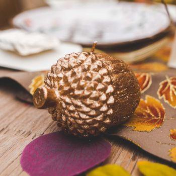 Bougie gland pailleté d'automne 8.5cm