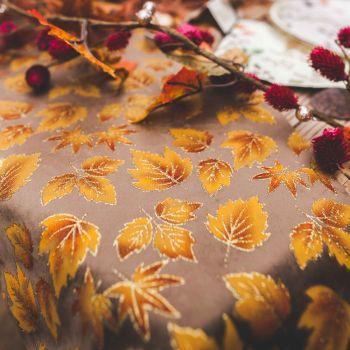 Chemin de table velour feuilles d'automne