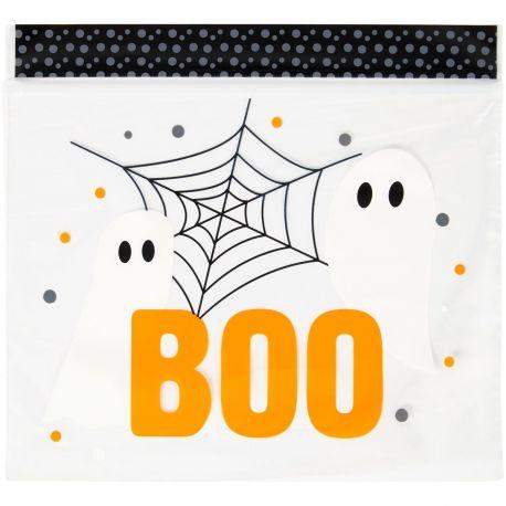 20 Superbes sachets en plastique refermable décor fantôme boo de la marque WiltonTaille : env. 17 x 18 cm.Contenu : 15...