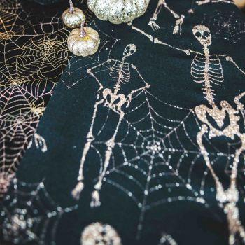 Chemin de table lin squelette or