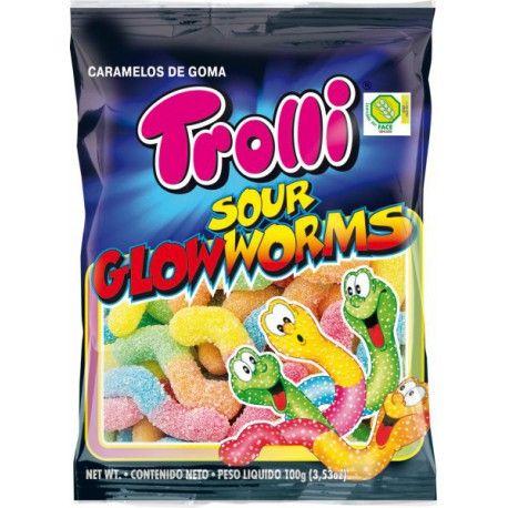 Sachet de bonbons gélifiés acidulés en forme de vers de terre idéal pour la fête d'Halloween !Marque TrolliPoids 100gr