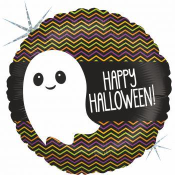 Ballon Halloween hélium rond fantôme