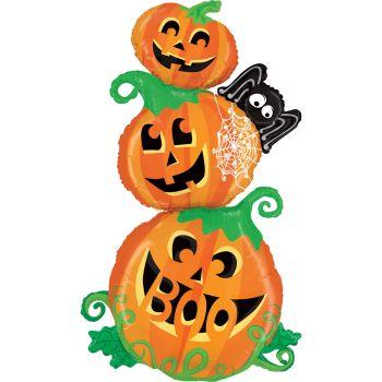 Ballon alu maxi tour de citrouilles Halloween