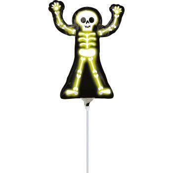 Mini ballon Halloween squelette fluo gonflé