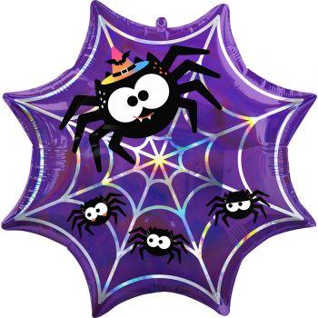 Ballons helium toile araignée irisée violette