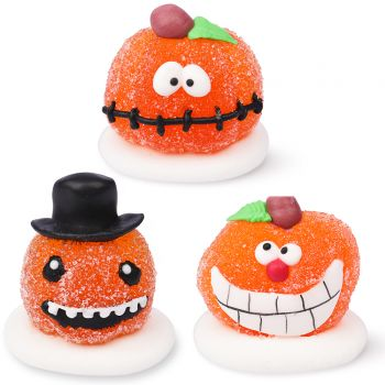 3 Figurines citrouilles Halloween en sucre