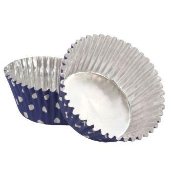 30 Caissettes cupcakes aluminium bleu à pois