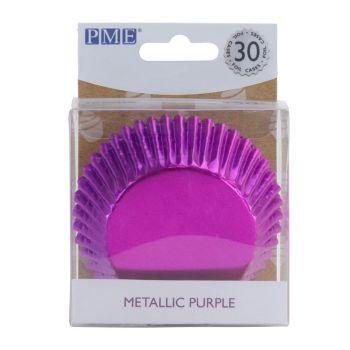 30 Caissettes cupcakes aluminium violette