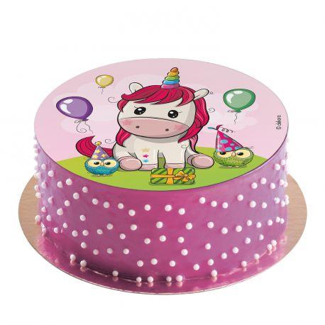 Disque comestible spécialement conçu pour réaliser un magnifique gâteau sur le thème des licornesIl suffit de le poser tout simplement...