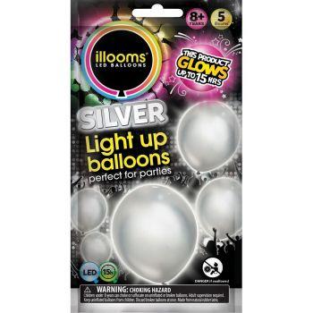 5 Ballons lumineux argent
