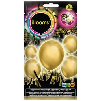 5 Ballons lumineux or