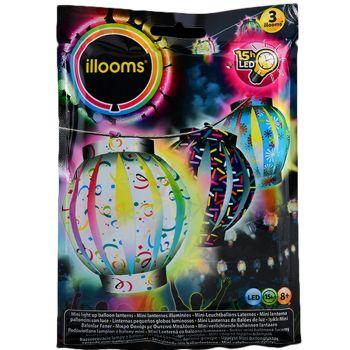3 Mini Ballons lanternes lumineux