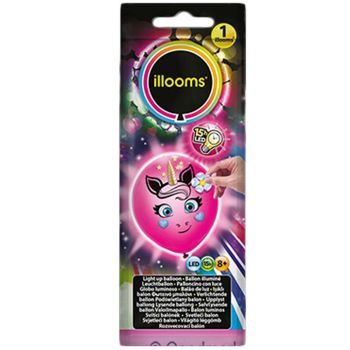 1 Ballon Illoomicons lumineux licorne rose