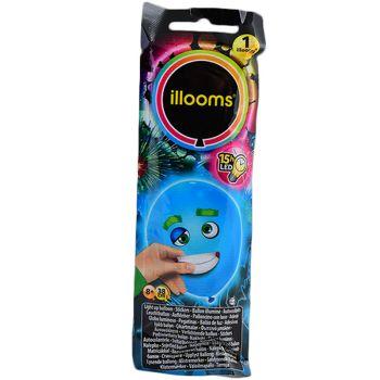 1 Ballon Illoomicons lumineux bleu