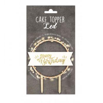 Cake topper en bois lumineux Happy Birthday Scrapcooking