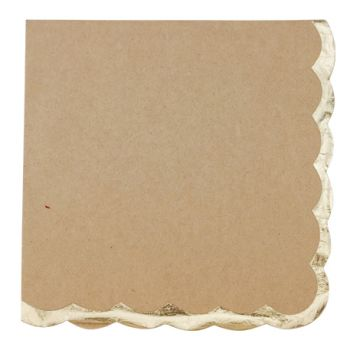 16 Serviettes Kraft bordure or