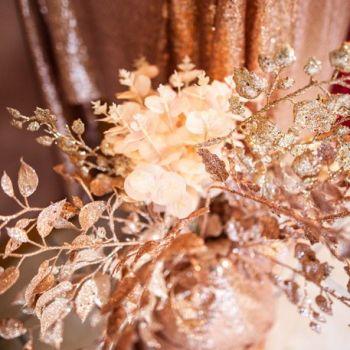 Branche de feuilles gold rose pailleté 90cm